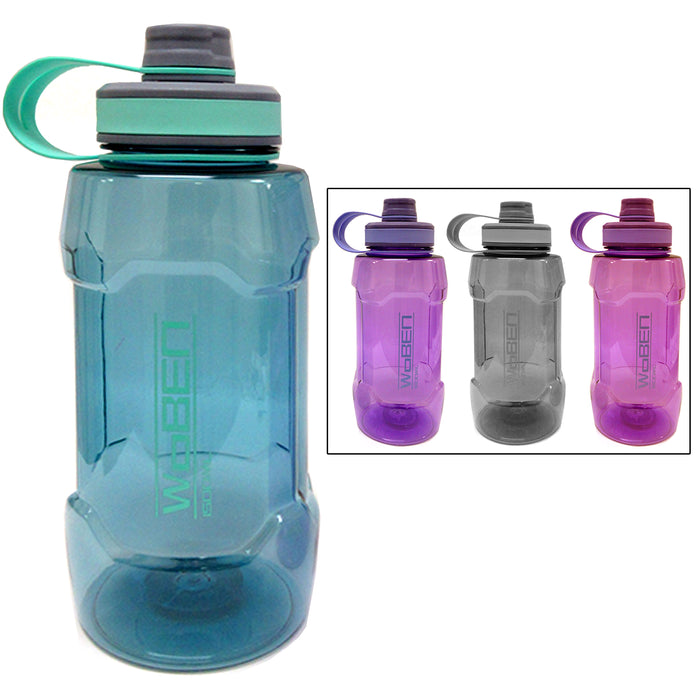 2 Large Sports Water Bottle 1500mL Wide Plastic Bike Bicycle Travel Kanteen 50oz