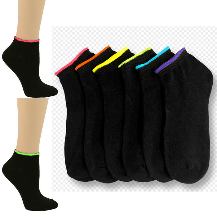 6 Pair Girls Ankle Sports Socks Low Cut Black Neon Color Casual Sport Run 6-8 Sz