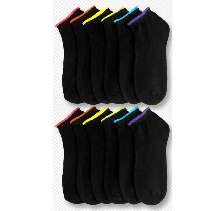 12 Pairs Girls Ankle Sports Socks Low Cut Black Neon Color Casual Sport Size 6-8
