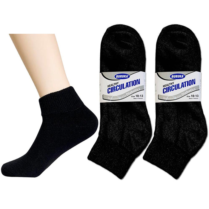6 Pair Diabetic Ankle Circulatory Socks Health Support Men Loose Fit Black 10-13