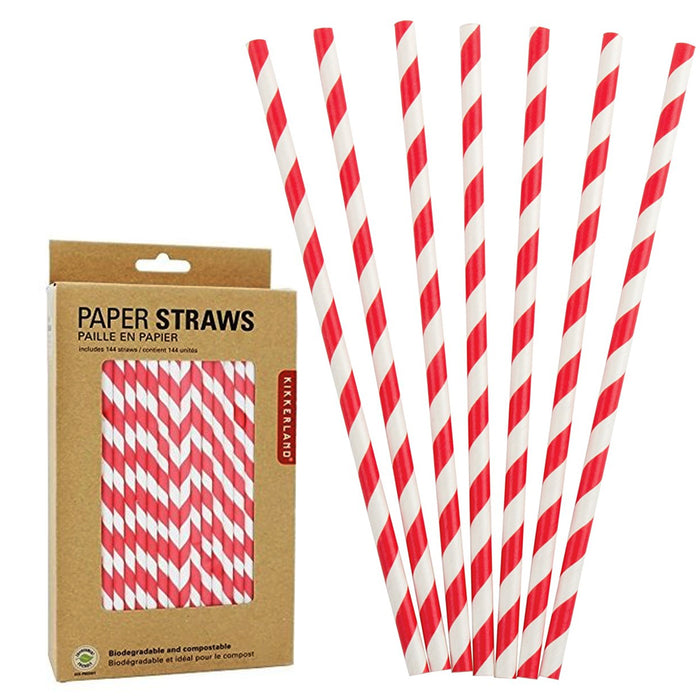 144 Box Kikkerland Biodegradable Paper Healthy Drink Straws Striped Party Shower