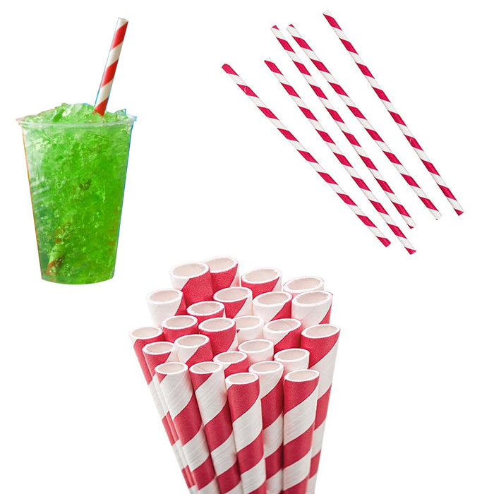 288 Pc Kikkerland Paper Straw Milkshake Red Stripe Biodegradable Food Safe Party