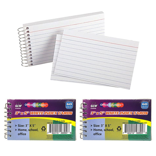 "2 Pk Spiral Bound Index Cards 3"" X 5"" Ruled 60Ct White School Office Perforated"
