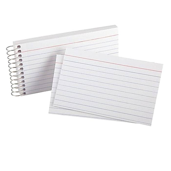 "4 Pk Spiral Bound Index Cards 3"" X 5"" Ruled 60Ct White School Office Perforated"