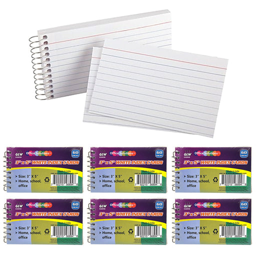 "6 Pk Spiral Bound Index Cards 3"" X 5"" Ruled 60Ct White School Office Perforated"