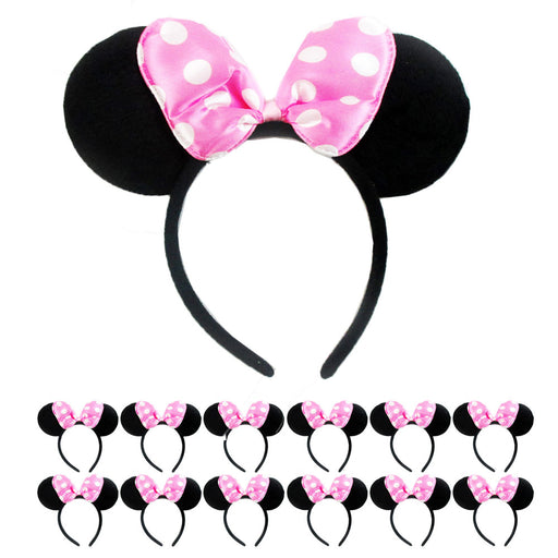 12Pc Minnie Mouse Ears Headbands Red Pink Polka Dot Bow Costume Party Favor Gift