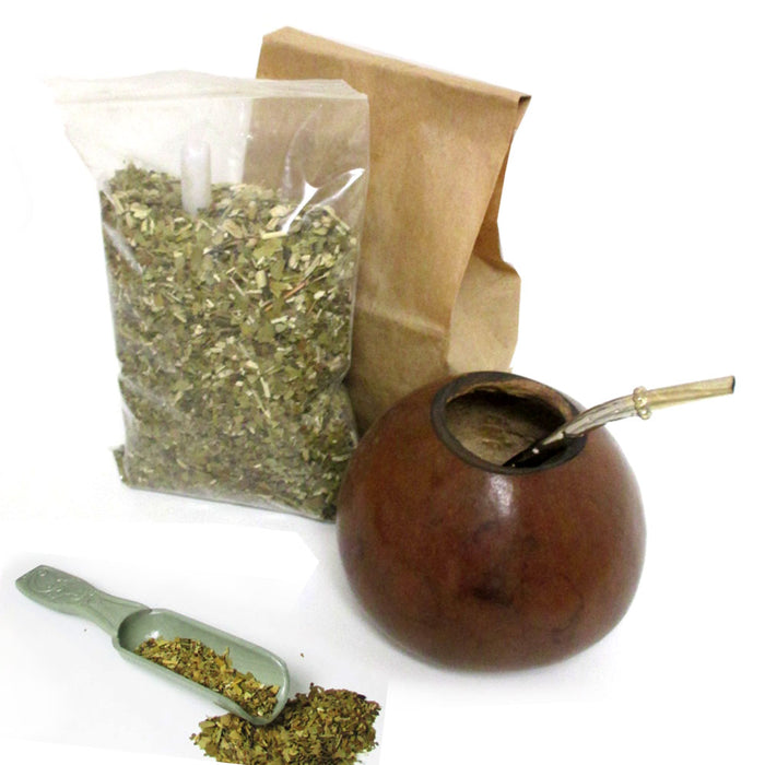 4 Pc Argentina Yerba Mate Kit Set Tea Gourd Cup Straw Bombilla 6oz Leaf Bag Pack