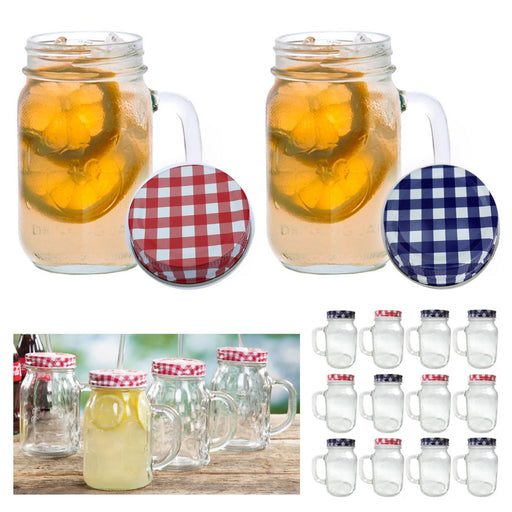 12 Mason Jar Handle Mug Rustic Bridal Wedding Drinking Clear Glass Smoothie 20oz