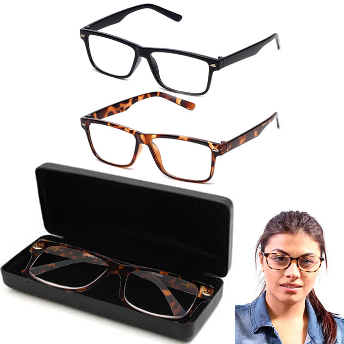 1 Pair Techies Anti-Reflective Glasses 1 Black Case Blue Blocking Computer Lens