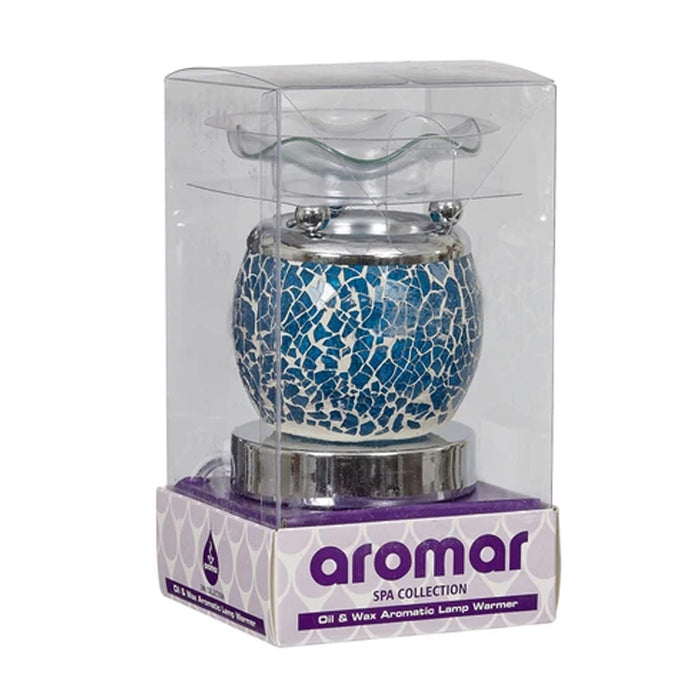 Electric Oil Wax Warmer Blue Mosaic Glass Touch Burner Night Lamp Aromatherapy