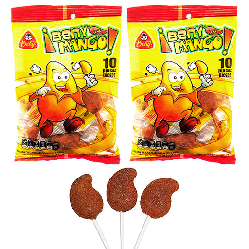 20 Pc Beny Que Mango Chili Lollipops Sweet Spicy Pops Mexican Hard Candy Sucker