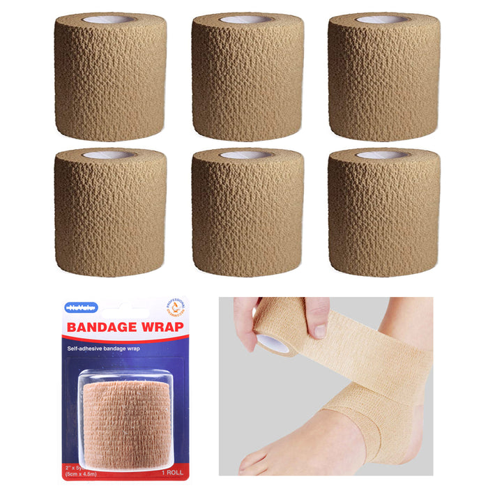 6 Pc Self Adhesive Bandage Wrap Cohesive Elastic First Aid Medical Support Tape