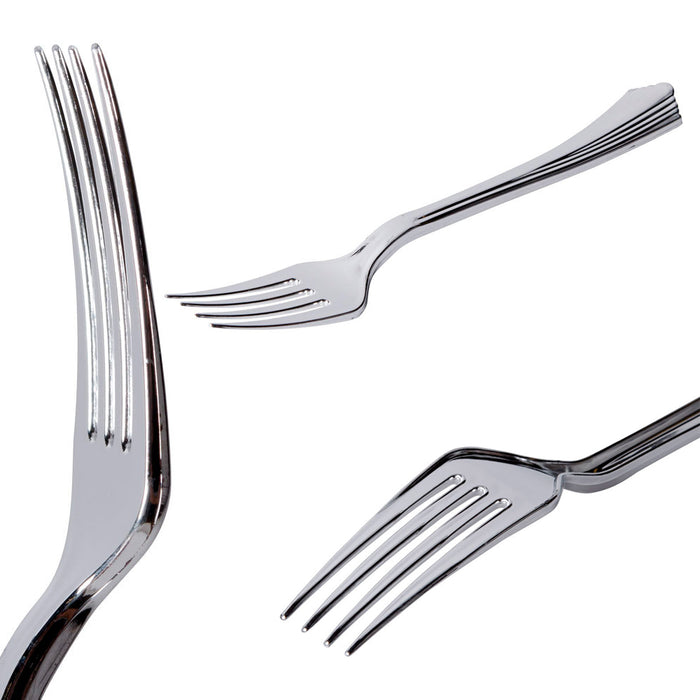60 People Fine Silverware Set 60 ea Fork Knife Spoon Wedding Disposable Utensils