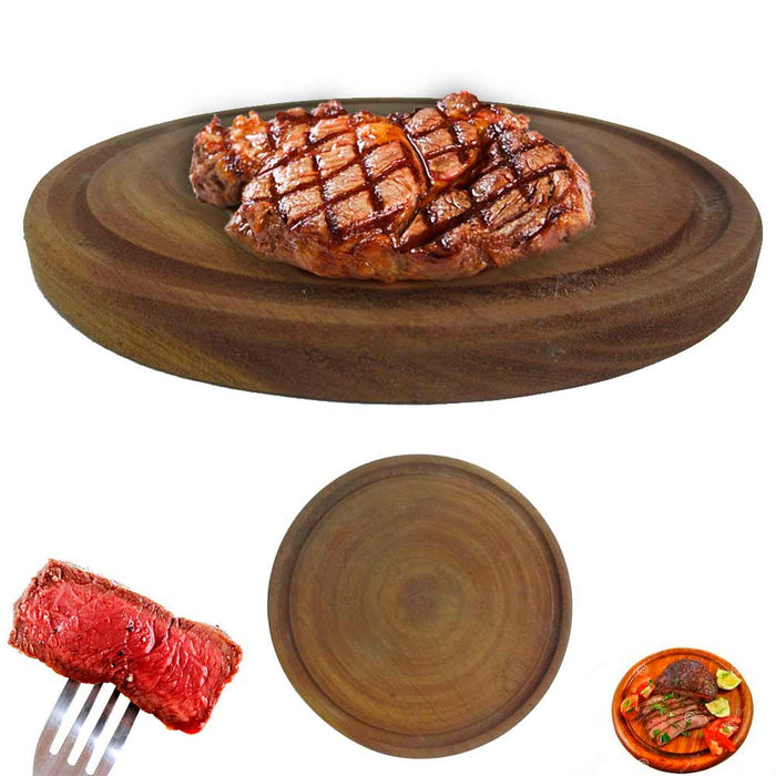 3 Plates Argentina Asado BBQ Cheese Serve Beef Meat Picnic Algarrobo Wood 9 1/4""