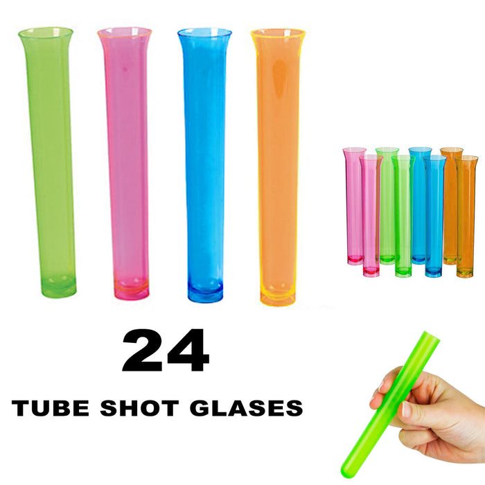 24 Party Tube Shot Glasses Test Clear Neon Plastic Shooter Bar Luau Birthday New