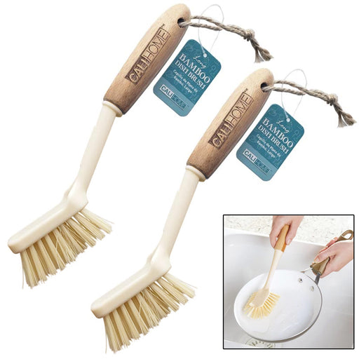 2 Pc Bamboo Dish Brush Natural Wood Handle Kitchen Scrub Sink Wash Scrubber 9.5""