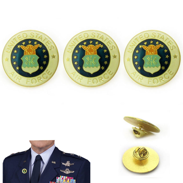 3 Pc US Air Force Shield Pin Lapel Pin Military Veteran Hat Jacket Uniform 1