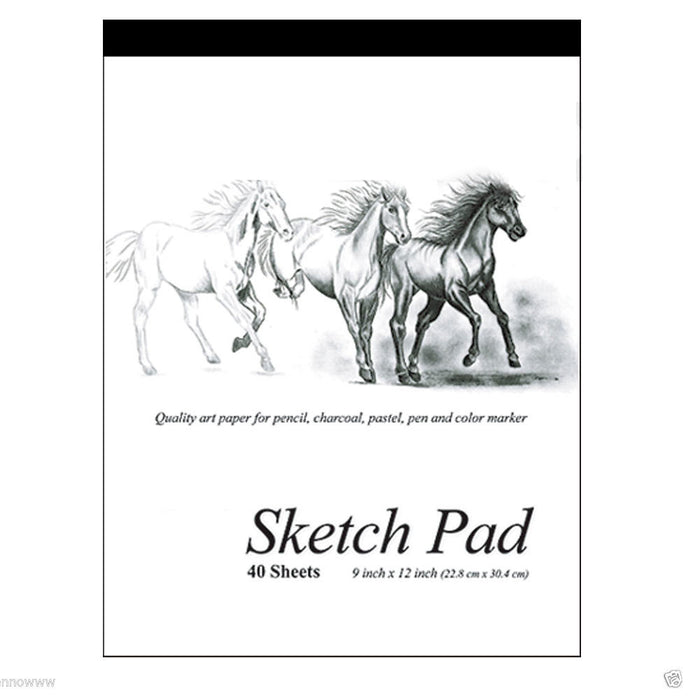 2 Set 9 x 12 Inches 40 Sheets Premium Quality Sketch Book Drawing Paper Pad Art