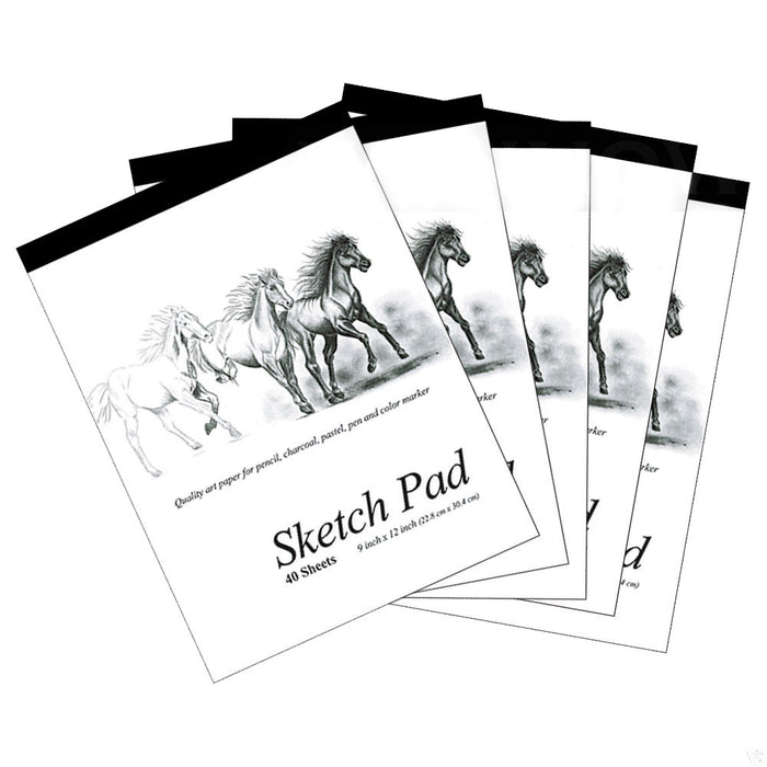 5 Set 9 x 12 inches 40 Sheets Premium Quality Sketch Book Paper Pad Art Drawing