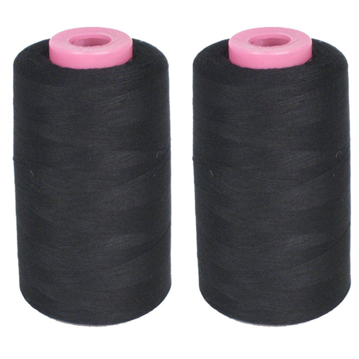 2 Large Spools Sewing Thread Polyester Black 1500 Yards Each Upholstery Crafts