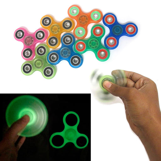 1 Tri-Spinner Fidget Glow In Dark Spin Toy EDC Hand Finger Spinner Focus ADHD