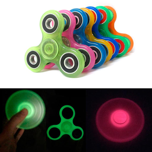 3 Gyro Tri-Spinner Fidget Glow In Dark Toy EDC Hand Finger Spinner Focus ADHD