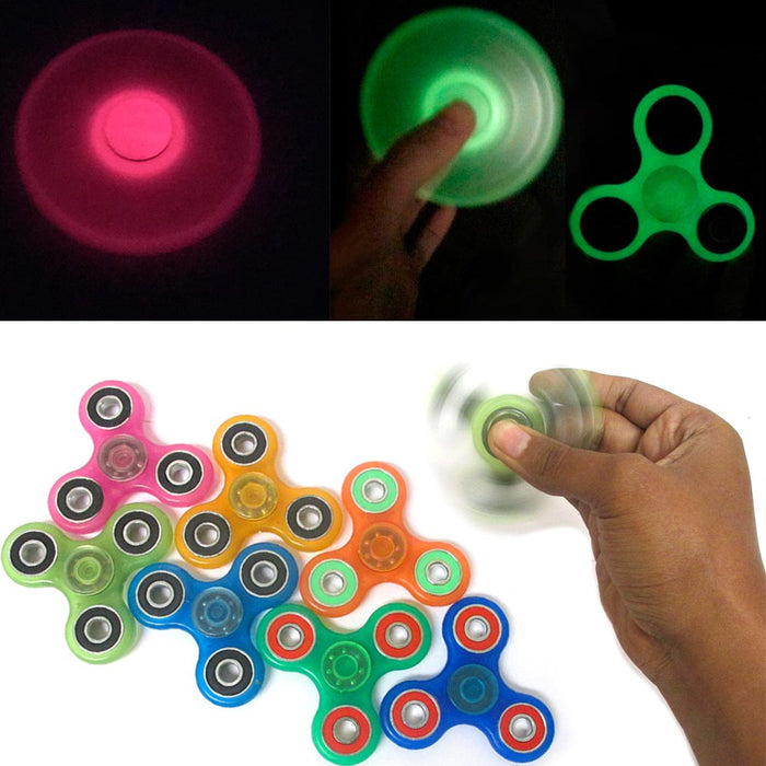 24 Fidget Tri-Spinner Glow In Dark Spin Toy EDC Hand Finger Spinner Focus ADHD