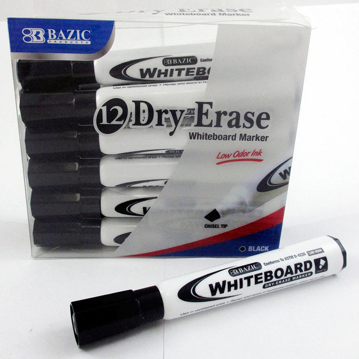 24 Dry Erase Whiteboard Markers Chisel Point Black Pens Office School Low Odor
