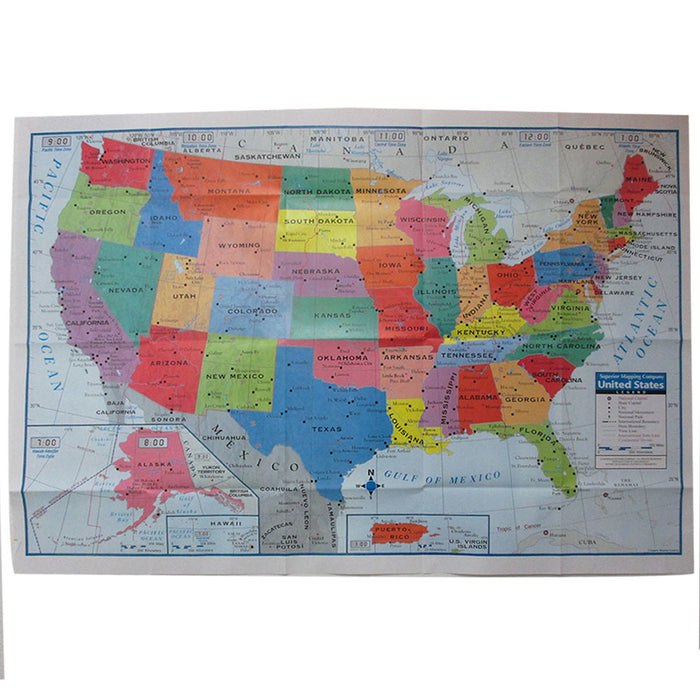 "United States USA Wall Map Poster 40""x28"" Multi Color Paper Mural Factory Folded"