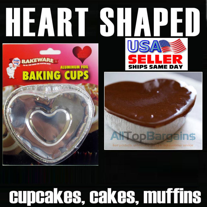 120 Aluminum Foil Heart Baking Cups Mold Cupcakes Disposable Silver Tin Bake New