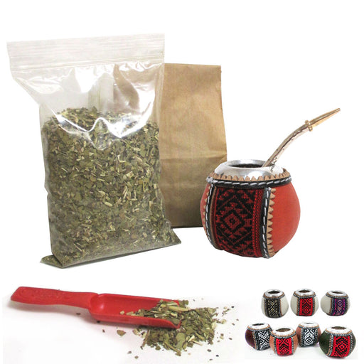 4Pc Yerba Mate Gourd Kit Argentina Tea Cup Straw Bombilla 6oz Leaf Bag Pack 6877