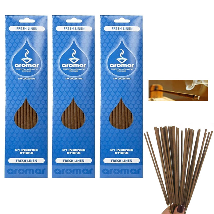 60 Fresh Linen Burning Incense Sticks Concentrated Scent Fragrance Aroma Therapy