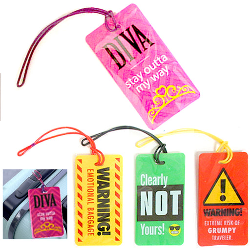 4 Luggage Tags Funny Sayings Label Strap Name Address Suitcase Bag Baggage Gift