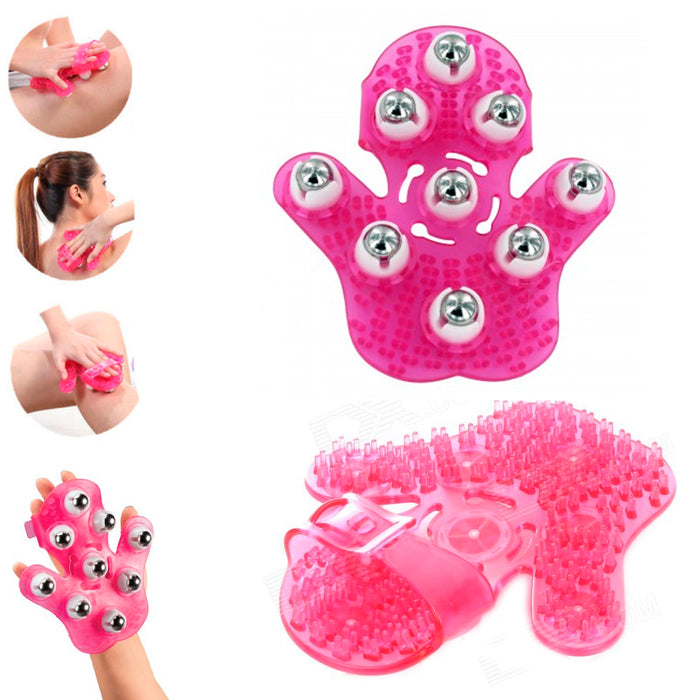 Pink Hand Massager Body Care Roller Rolling Joint Glove Cellulite Massage Relax
