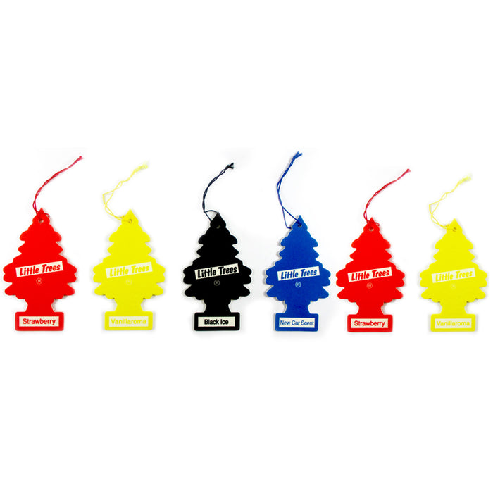 6 Little Trees Air Fresheners Car Auto Assorted Pack Scent Home Hanging Office !