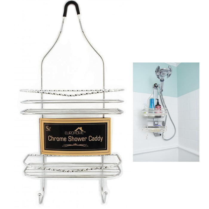 New Chrome Shower Caddy Bathroom Tub Hanging Organizer Shelf Basket Soap Holder