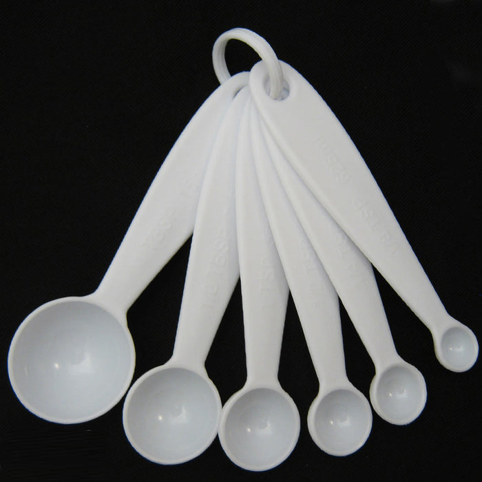 Measuring Spoons 6 Pc Set Plastic Steel Tea Coffee Measure Cooking Scoop