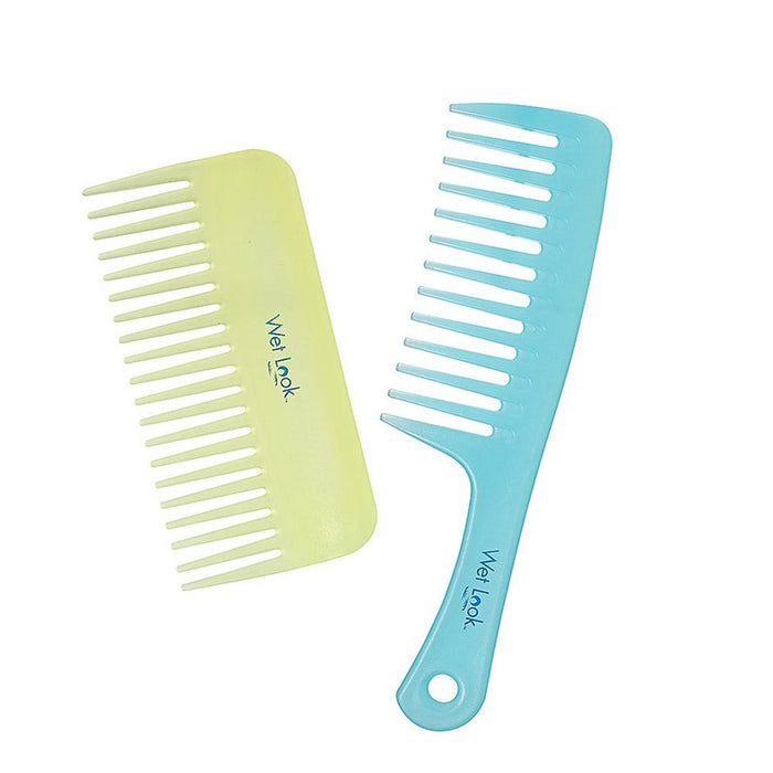 2 Hair Wide Tooth Combs Fine Plastic Shower Beach Detangling Wet Dry Style New