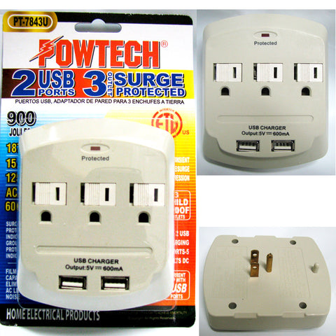 1x 3 Outlet + 2 USB Surge Pro Dual Charging Station Ports Wall Tap 15V 1875W New