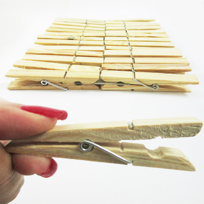 "60 Wood Wooden 2 3/4"" Inch Large Spring Clothespins Laundry Clothes Pins Crafts"