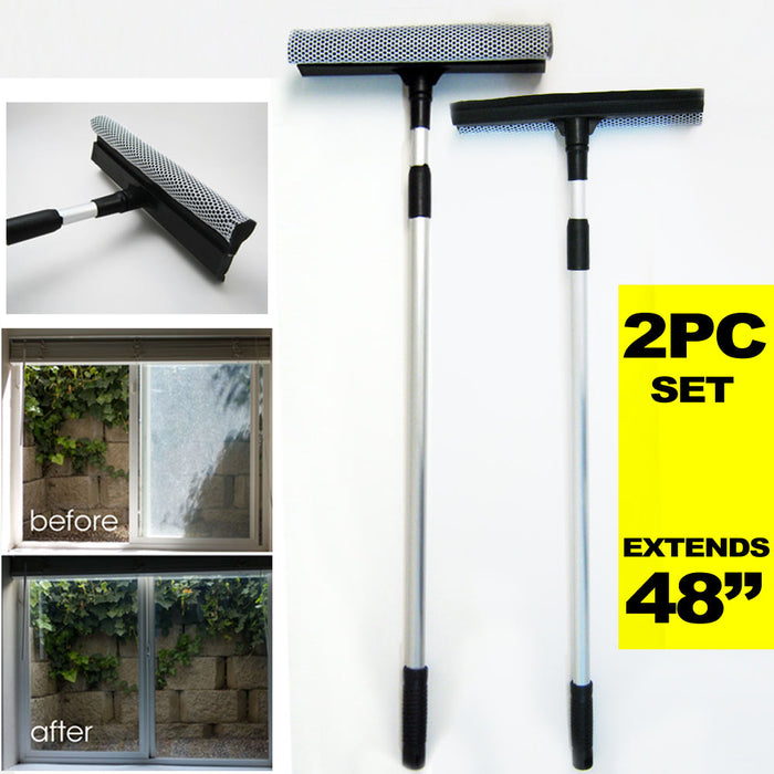 "2 Telescopic Squeegee Window Cleaner Sponge Tool House Shower 48"" Scrubber New"