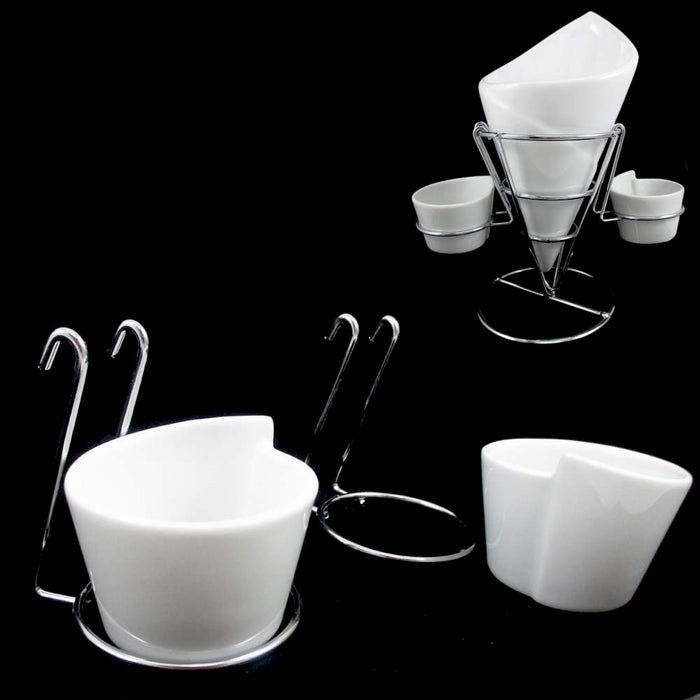 4 Piece Set Ceramic French Fries Chip Dip Sauce Serving Dish Bowl Server Cup New