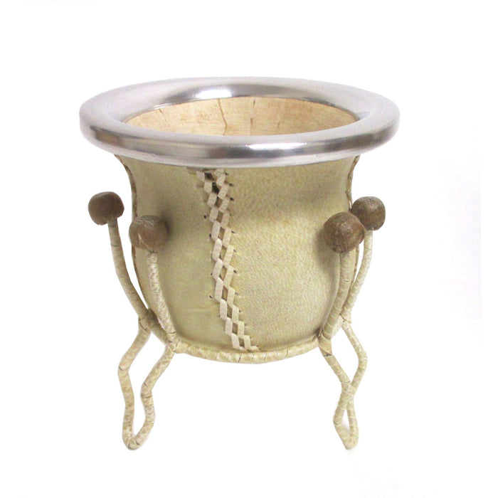 Mate Gourd Yerba Cup With Bombilla Straw Kit Genuine Leather Handmade Argentina