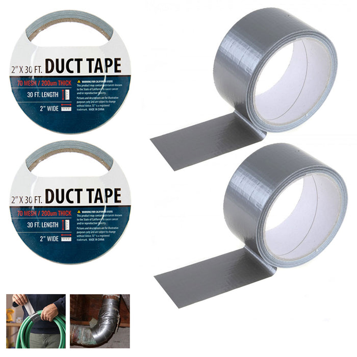 2 Silver Duct Tape Rolls Box Sealing Packaging Packing Carton 2 x 10 yds !