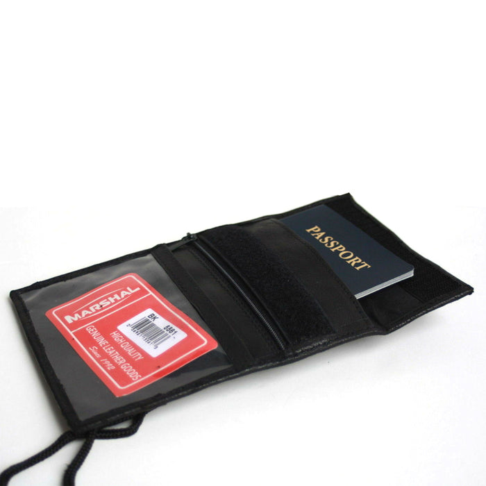 1 X Leather Badge Wallet Neck Strap ID Credit Card Holder Bifold Passport Pouch