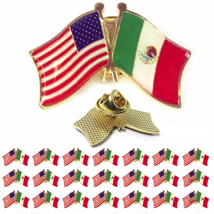 20 Mexico USA Crossed Friendship Flag Lapel Pin Support Patriotic Enamel Badge