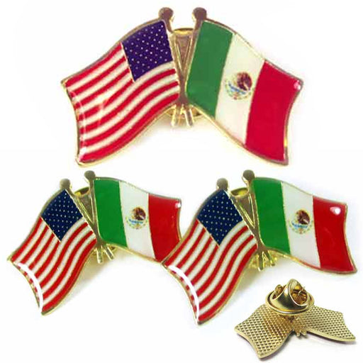 3 Pc Mexico USA Crossed Friendship Flag Lapel Pin Support Patriotic Enamel Badge