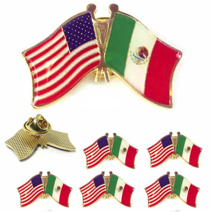 6 Pc Mexico USA Crossed Friendship Flag Lapel Pin Support Patriotic Enamel Badge