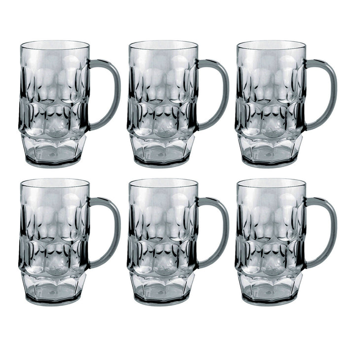 6 Pack Gray Plastic Beer Mugs Drinking Party Cups 26 oz Glasses Bar Picnic Gift