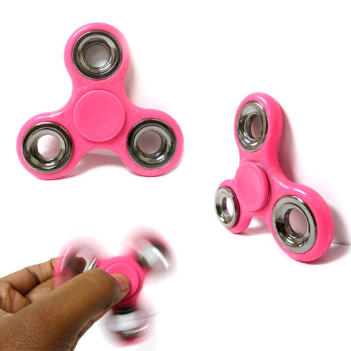 3 Fidget Spinner Gyro Silver Rim Toy EDC Finger Focus ADHD Kids Adults Pink Lot